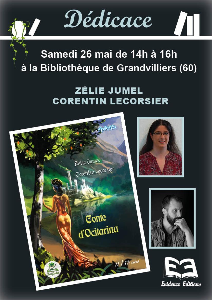 affiche dédicace Zélie Jumel Bibliothèque Grandvilliers